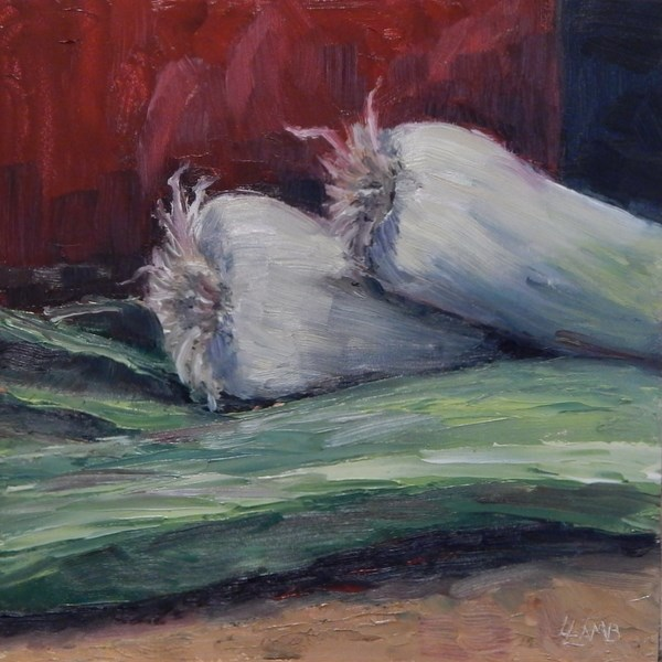 """Leeks"" original fine art by Lori L. Lamb"