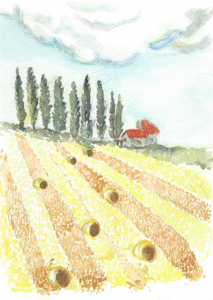 """Harvested field, France"" original fine art by Laura Denning"