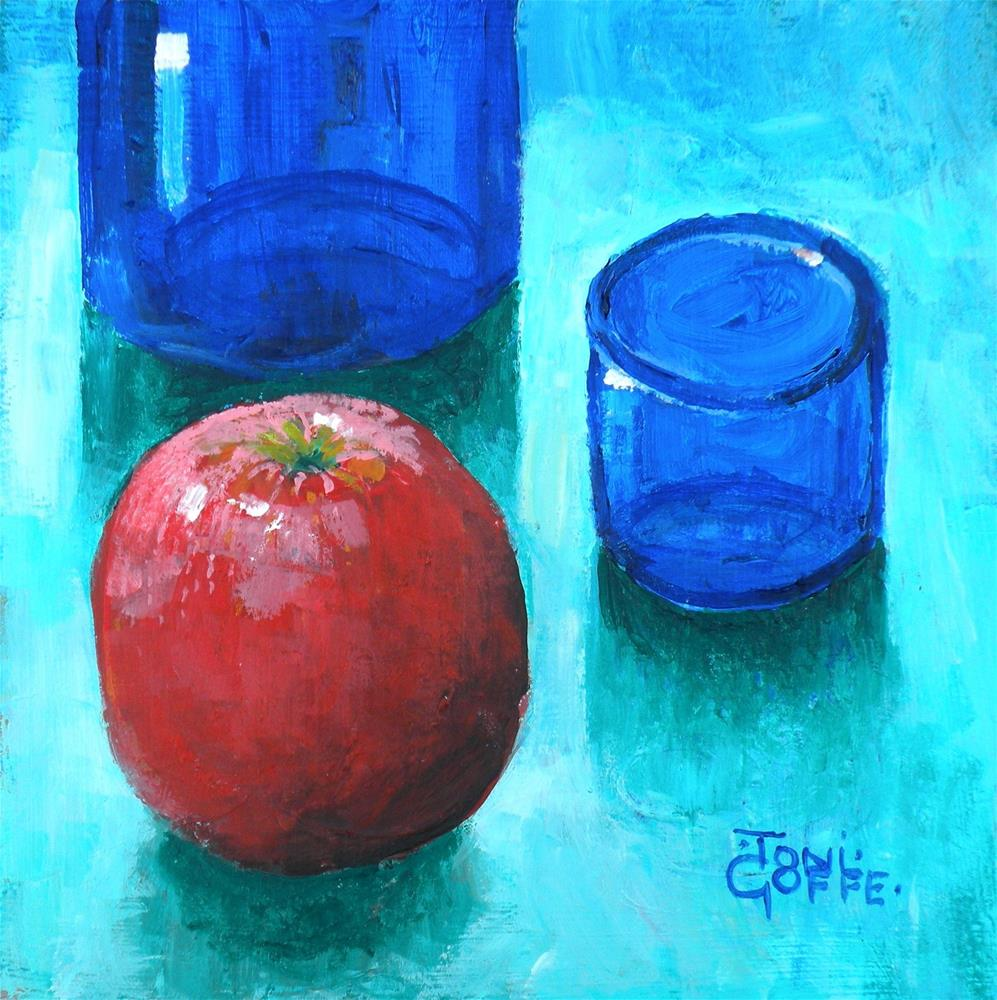"""Blue and Red"" original fine art by Toni Goffe"