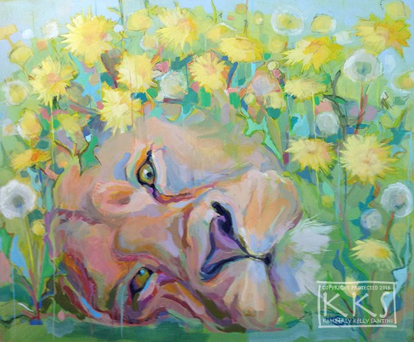 """Dandy Lion"" original fine art by Kimberly Santini"