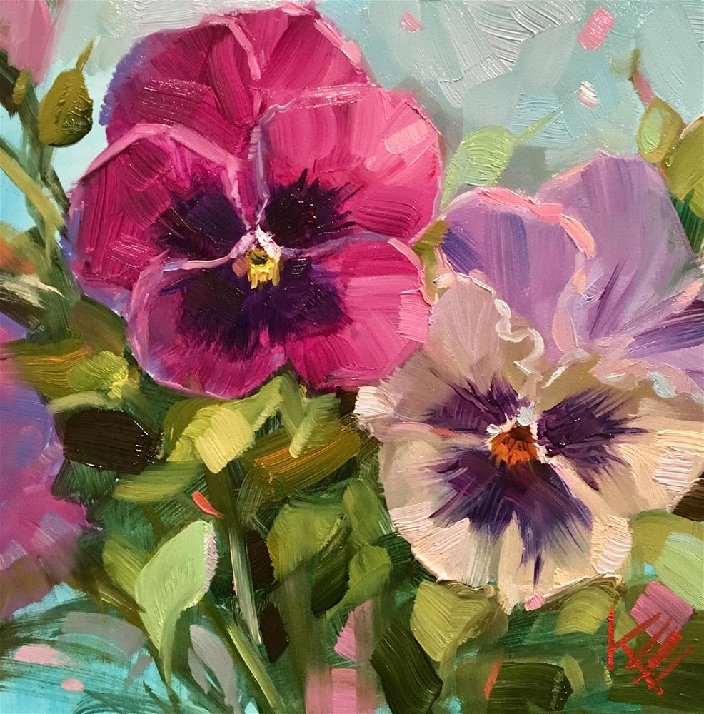 """Princess Pansies"" original fine art by Krista Eaton"