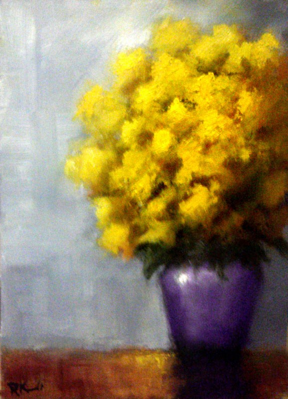 """Yellow Flowers in a Purple Vase"" original fine art by Bob Kimball"