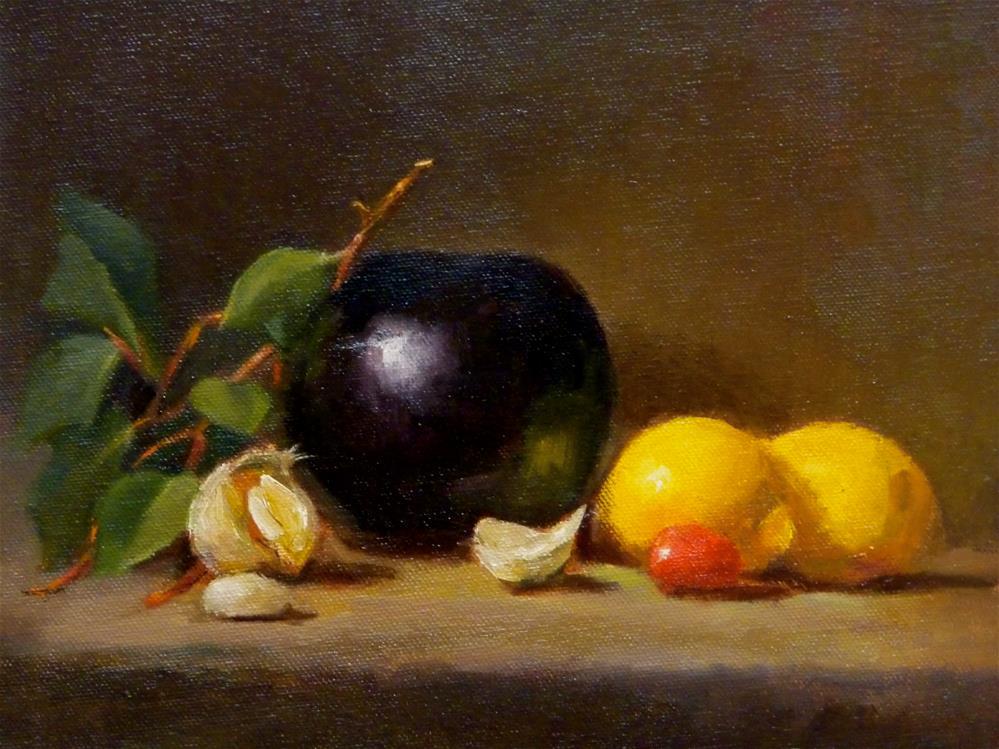 """Black pot with Lemons"" original fine art by Susan Leider"