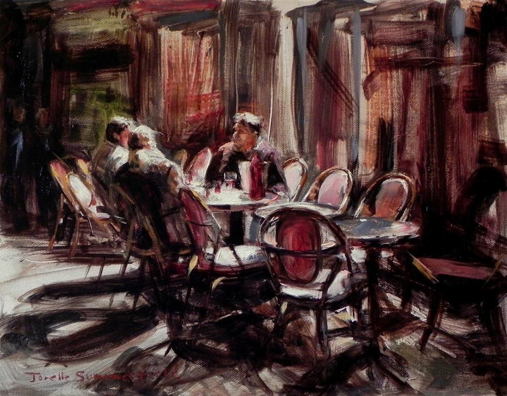 """""""Late Dinner in Paris II"""" original fine art by Jonelle Summerfield"""
