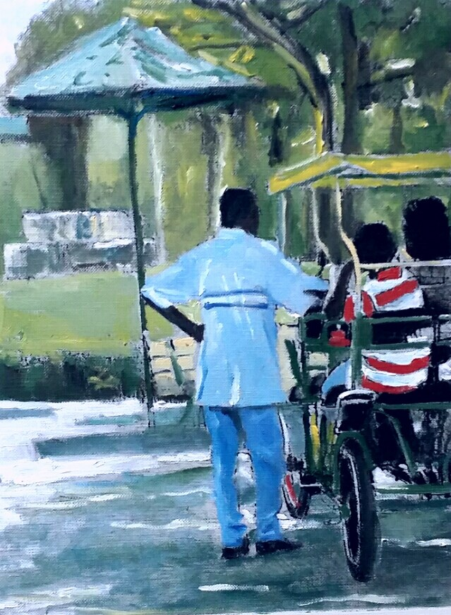 """""""At the Zoo (8 x 10 oil on canvas sheet - no frame)"""" original fine art by Ramon DelRosario"""