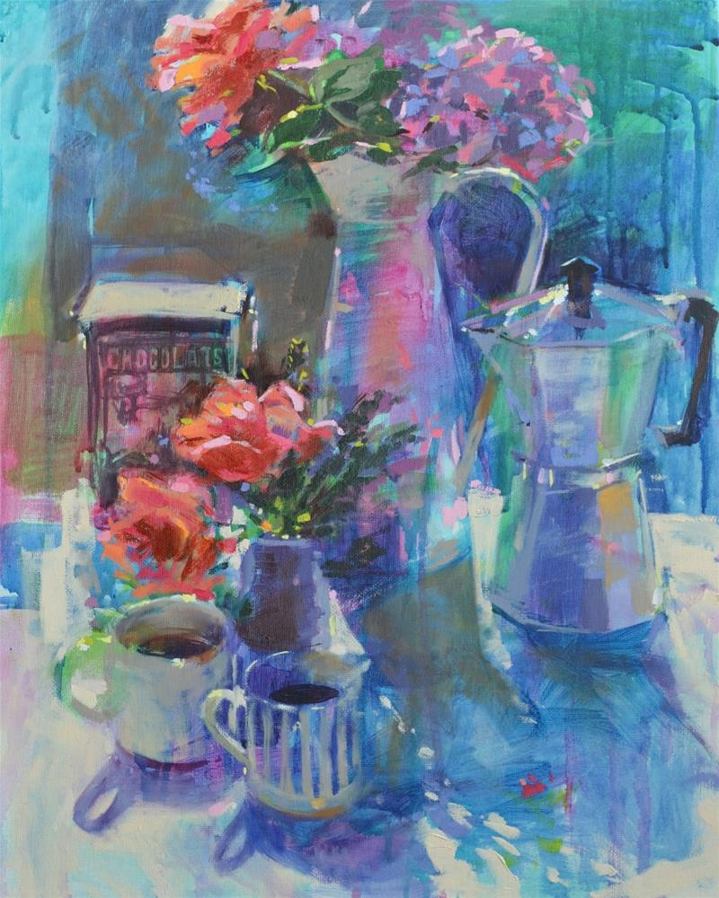 """French coffee and roses"" original fine art by Haidee-Jo Summers ROI"