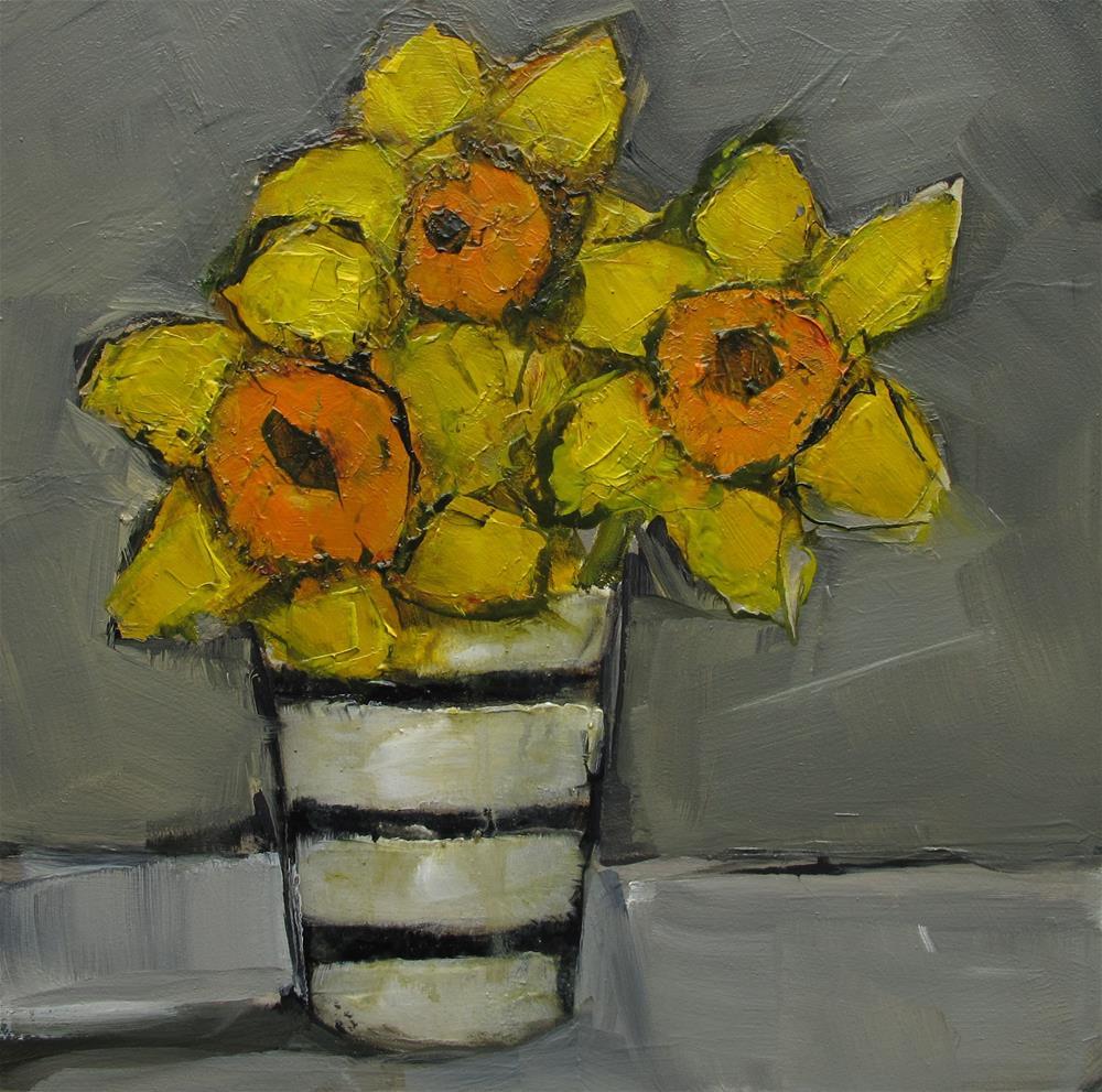 """ORIGINAL Daffodils Still Life Floral Flower 4 x 4 oil on panel Colette Davis"" original fine art by Colette Davis"