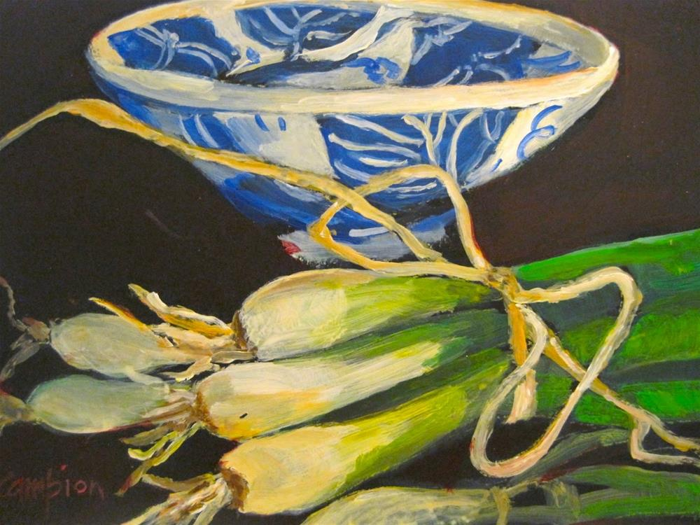 """455 Scallions on the Side"" original fine art by Diane Campion"