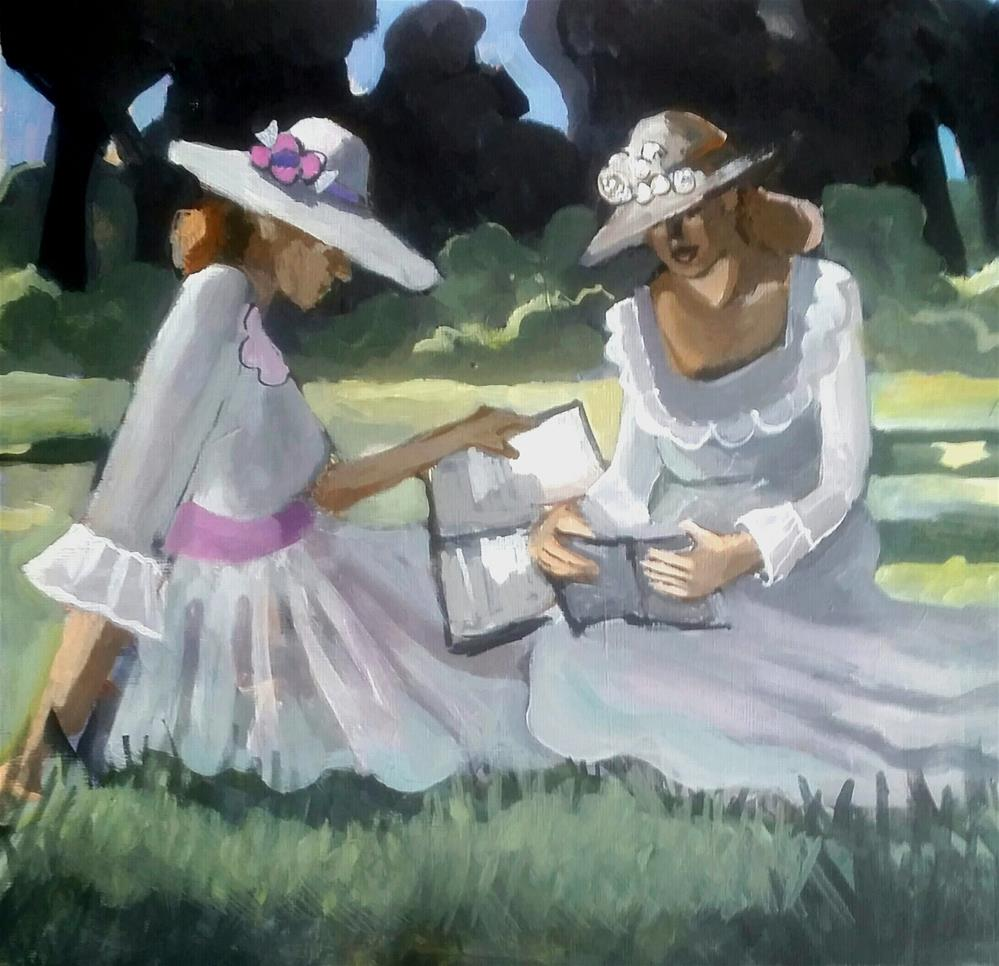 """Sisters at the Park"" original fine art by Liz Maynes"
