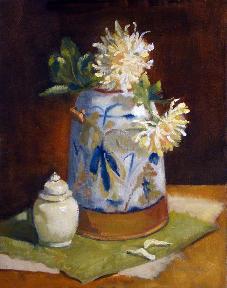 """Ceramic Vase and Mums"" original fine art by Roseanne Campagna"