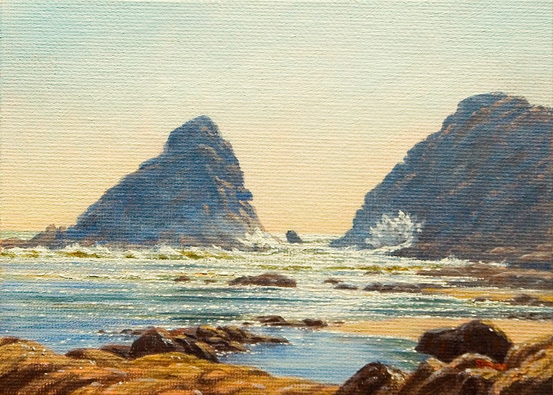 """C1604 Into the Light at the Devil's Elbow (Oregon Coast)"" original fine art by Steven Thor Johanneson"