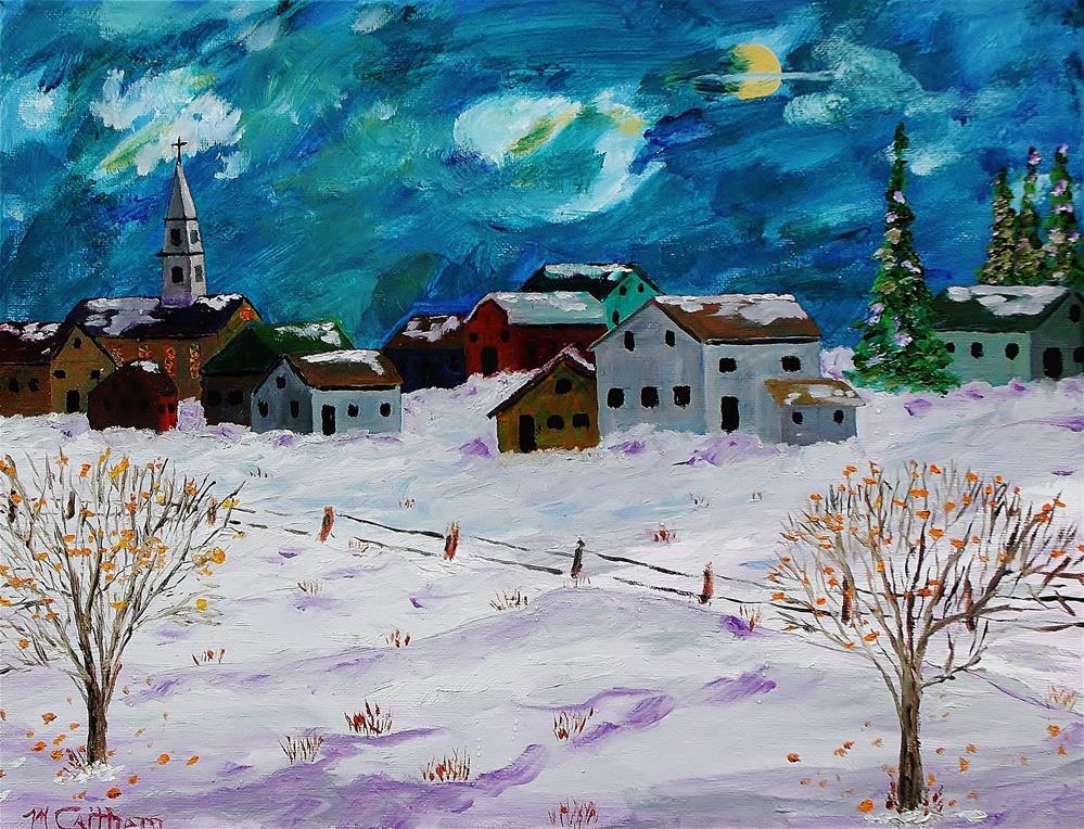 """Winter Village"" original fine art by Mike Caitham"