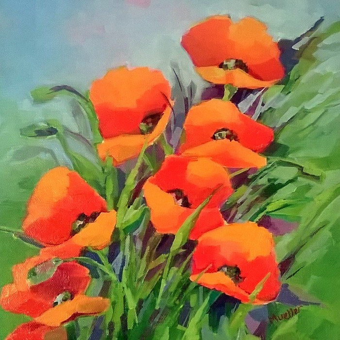 """Posse of Poppies"" original fine art by Laurie Mueller"