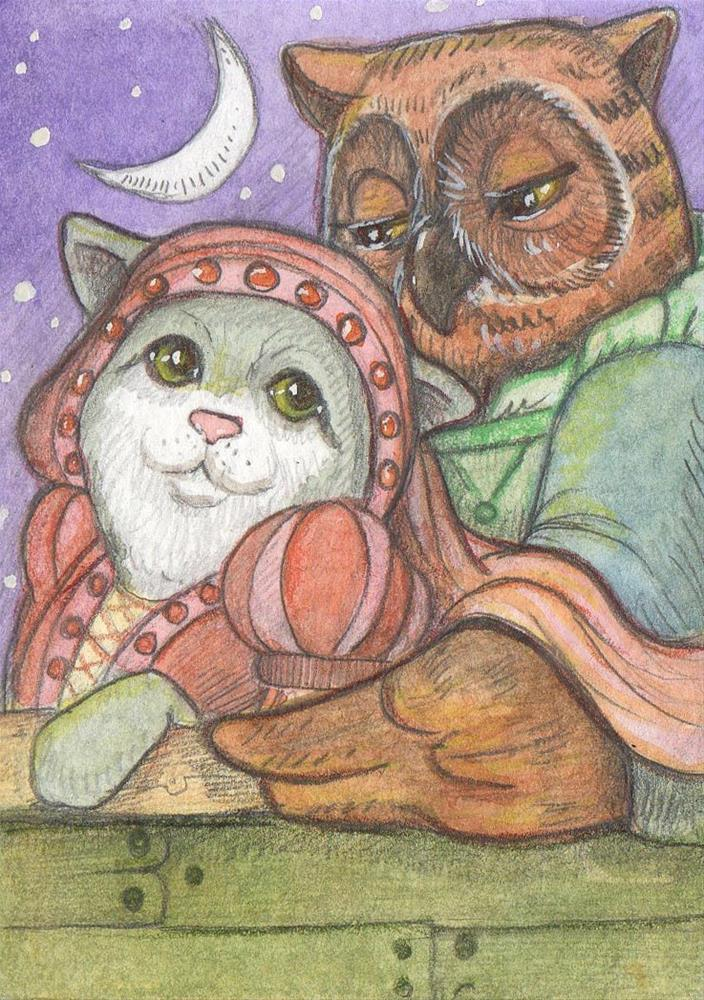 """The Owl and the Pussy Cat"" original fine art by Lisa Ferguson"