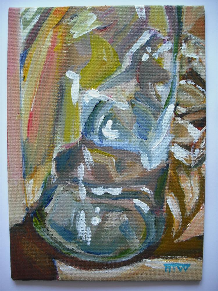"""Tealight Holder Through Bottle Base"" original fine art by Heather Whiting"
