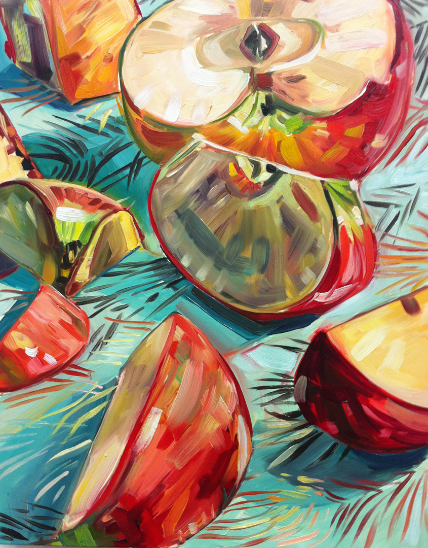 """Apples and Feathered Wrapping Paper"" original fine art by Katy O'Connor"