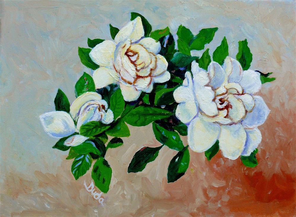 """""""Tre' Gardenias"""" original fine art by Susan Duda"""