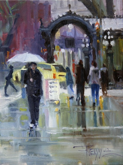 """White Umbrella Seattle cityscape, oil painting by Robin Weiss"" original fine art by Robin Weiss"