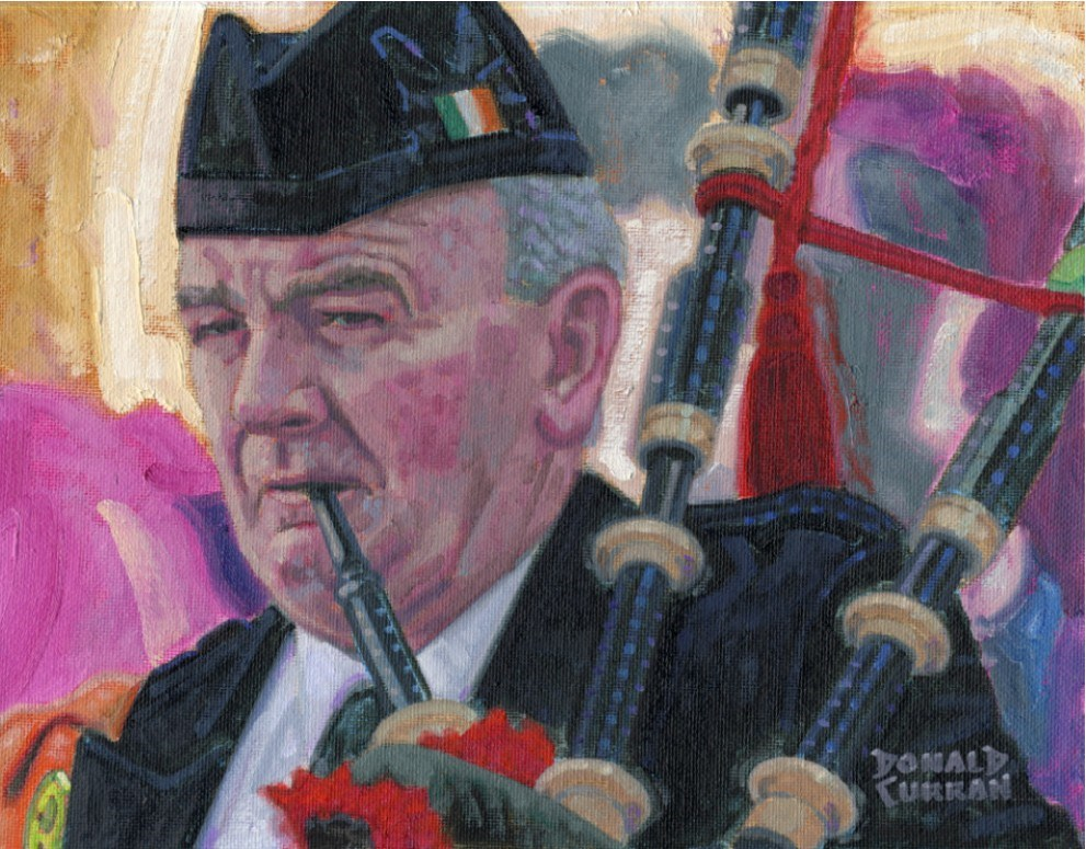 """Irish Piper"" original fine art by Donald Curran"