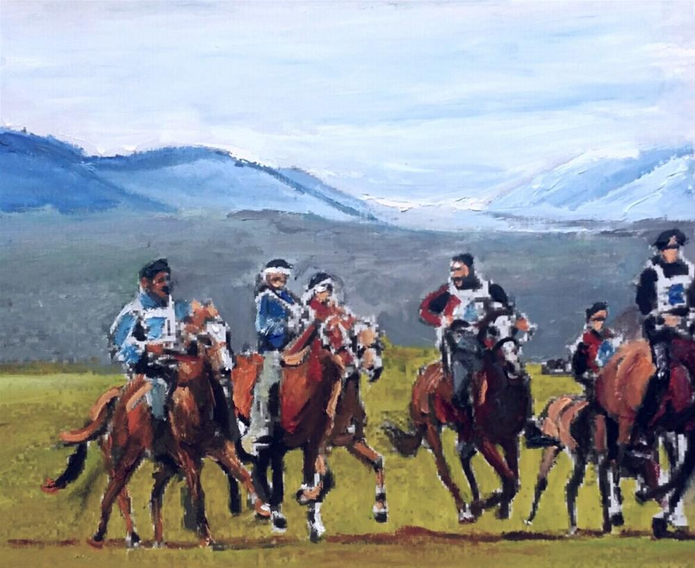"""The Horses Gang (9 x 12 oil on canvas sheet - no frame)"" original fine art by Ramon DelRosario"