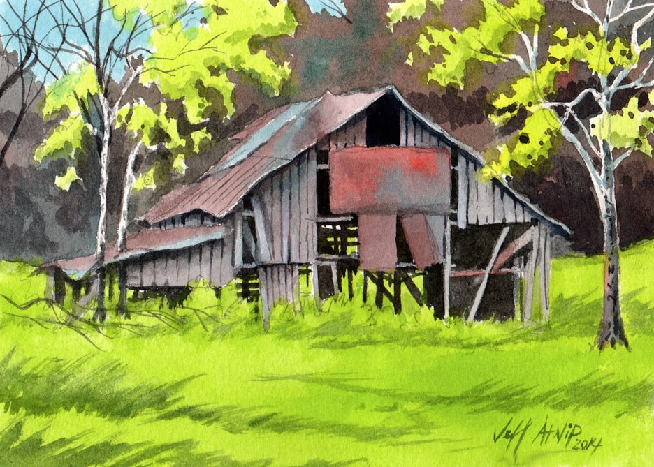 """Spring Barn"" original fine art by Jeff Atnip"