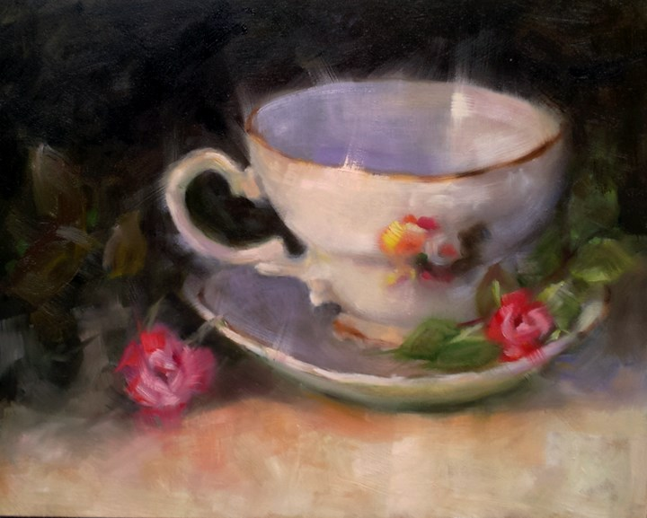 """Teacup"" original fine art by Cindy Haase"