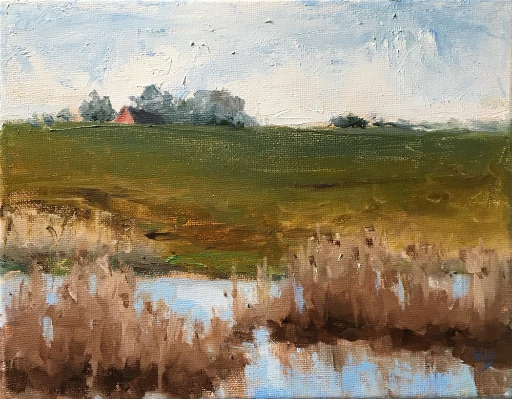 """Finley-Water and Barn"" original fine art by Victoria  Biedron"