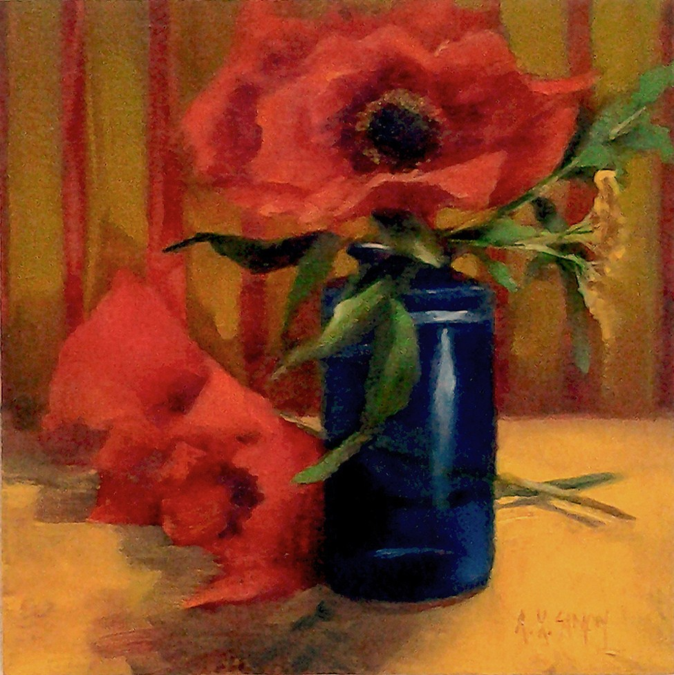 """Poppies"" original fine art by A.K. Simon"
