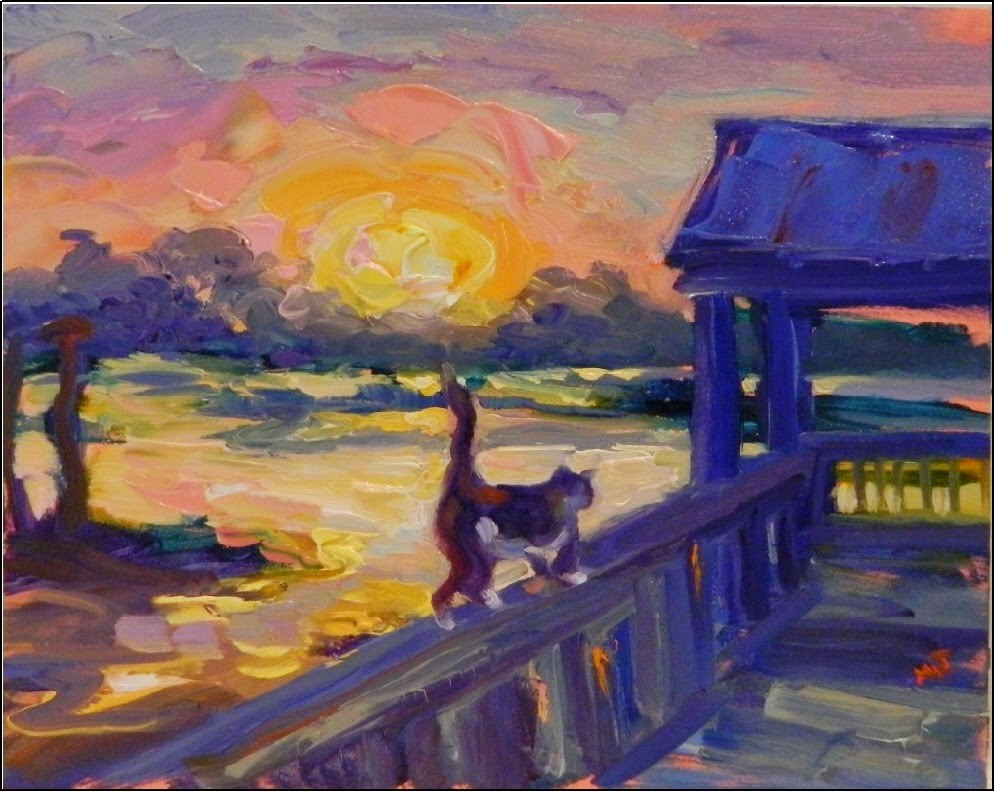 """Catwalk, 8x10, oil on board, Vincent Van Gogh, Sunsets, cats, nasty cats, Cedar Key, plein air"" original fine art by Maryanne Jacobsen"