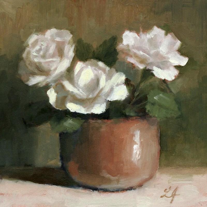 """Roses in White"" original fine art by Linda Jacobus"