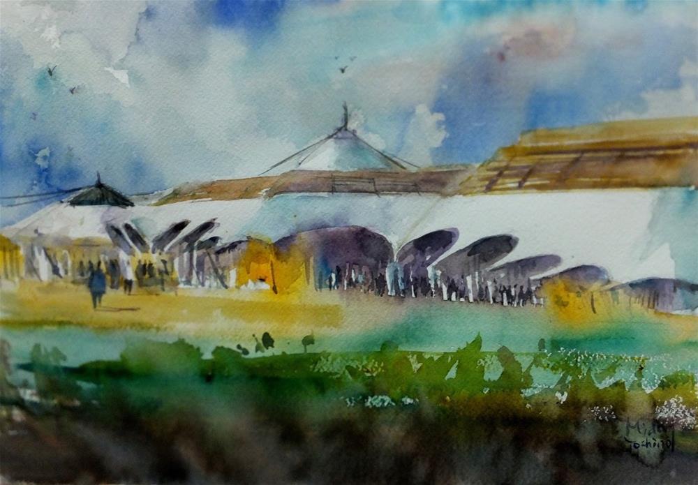 """""""Al Ain Convention Centre at 7am."""" original fine art by Midori Yoshino"""