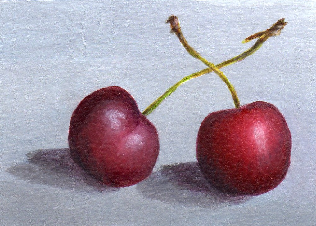 """Crossing Cherries"" original fine art by Debbie Shirley"