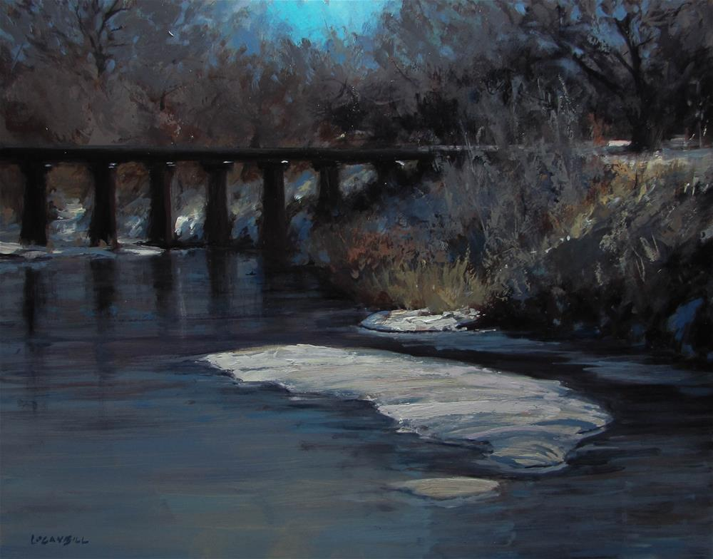 """The Missouri Pacific Crossing, Winter. "" original fine art by Joseph Loganbill"