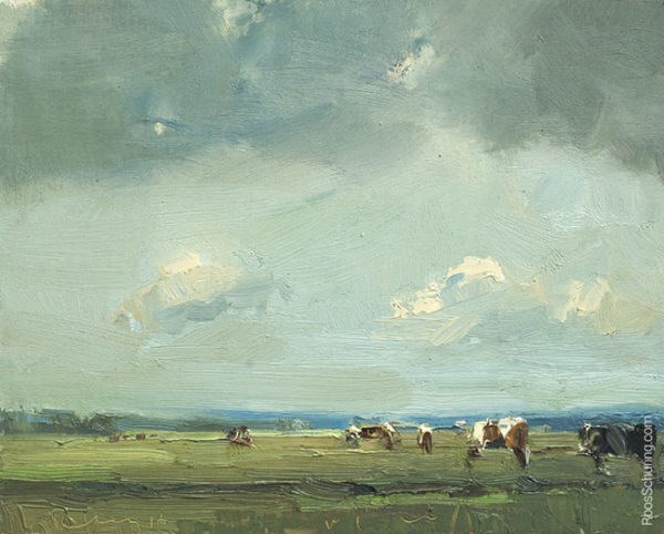 """""""Painting Cows Under Big Sky"""" original fine art by Roos Schuring"""