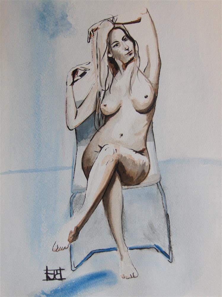 """""""Seated Nude"""" original fine art by Arron McGuire"""
