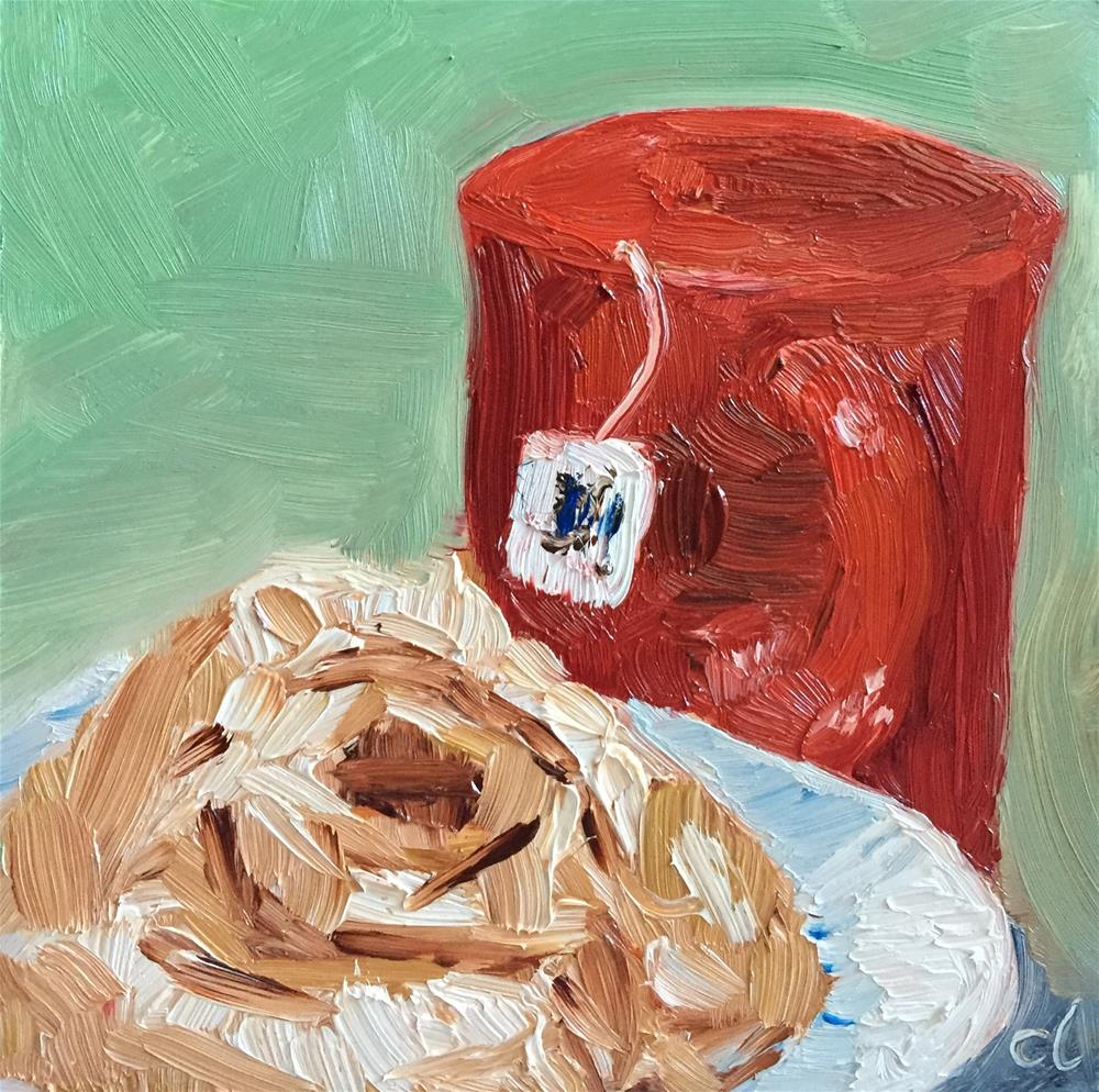 """Rolling with my tea"" original fine art by Cheree Apalona Lueck"