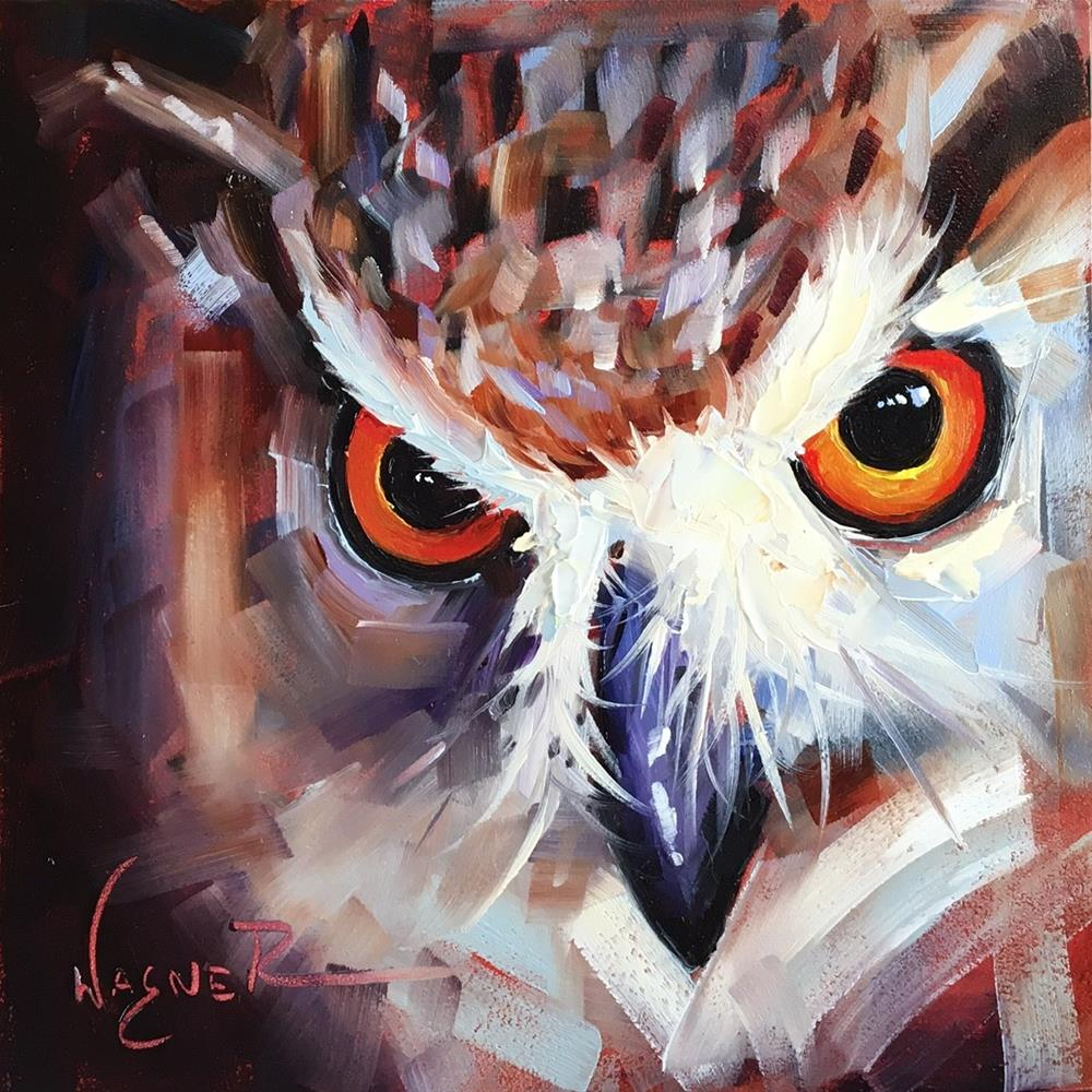 """ORIGINAL CONTEMPORARY OWL Painting on Panel  in OILS by OLGA WAGNER"" original fine art by Olga Wagner"