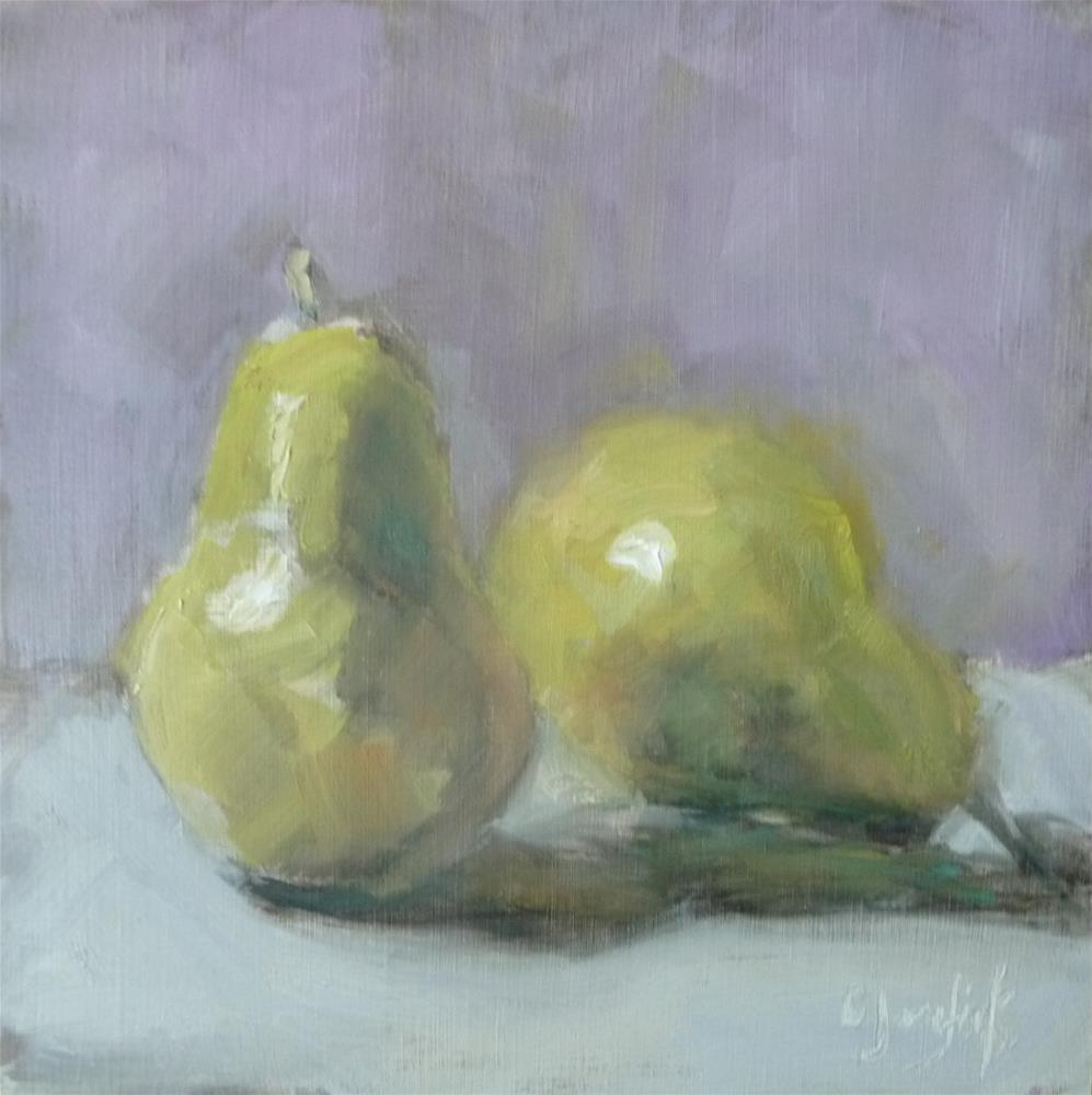 """Two Pears"" original fine art by Carol Josefiak"