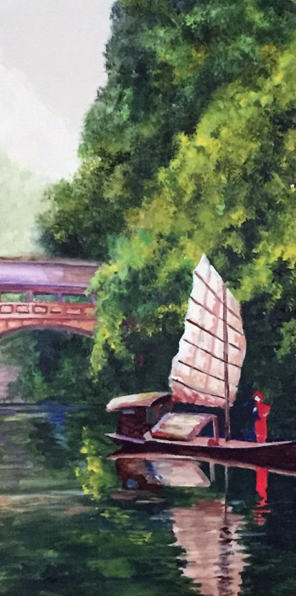 """Boat and Bridge"" original fine art by Nan Johnson"