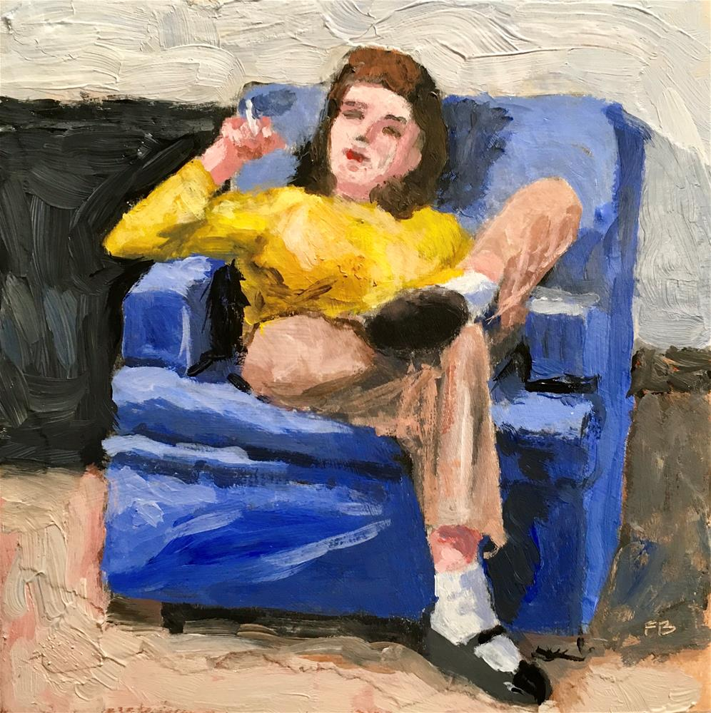 """158 Susan Smokes A Cigarette"" original fine art by Fred Bell"