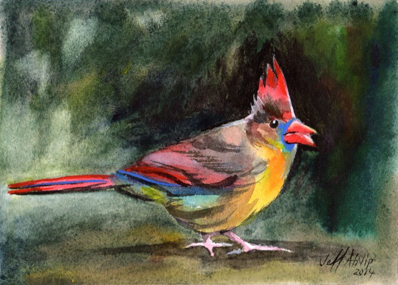 """Mrs. Cardinal"" original fine art by Jeff Atnip"