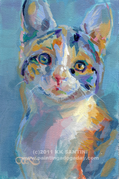 """Turquoise Calico"" original fine art by Kimberly Santini"