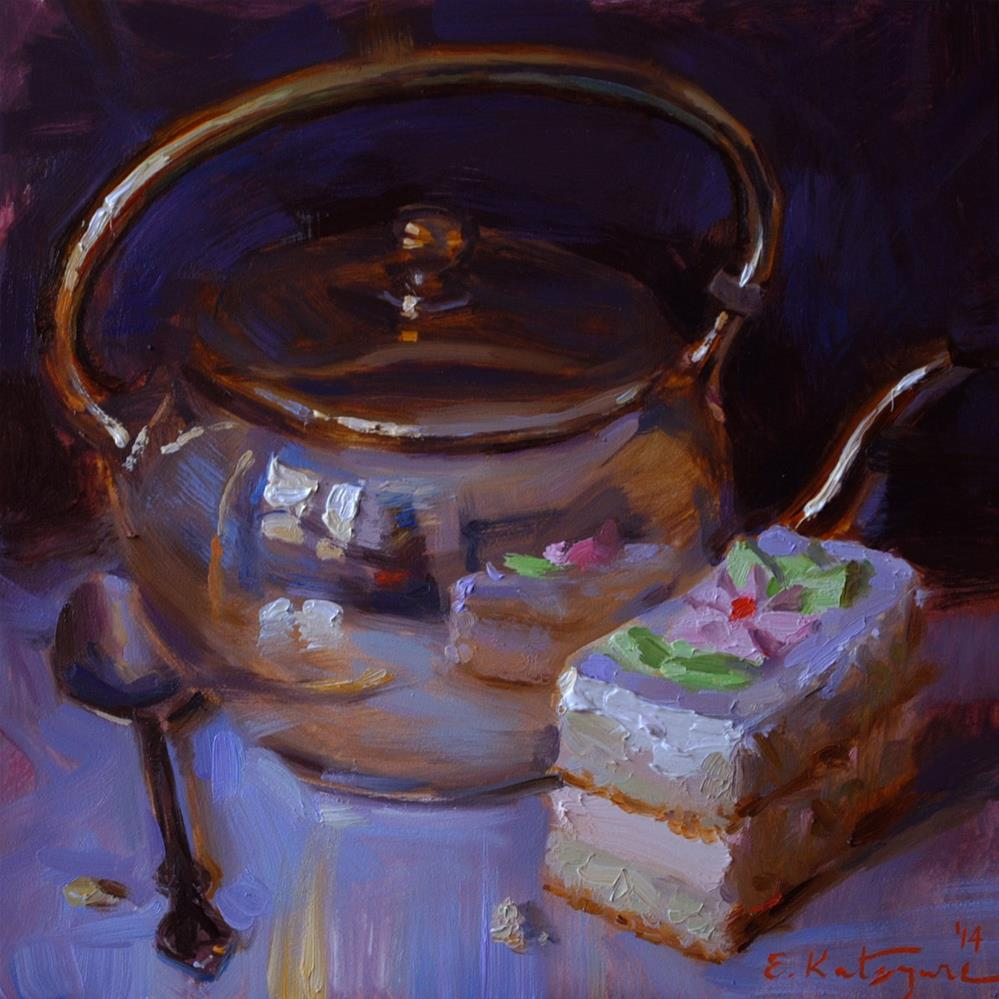 """Teapot and Pastry"" original fine art by Elena Katsyura"