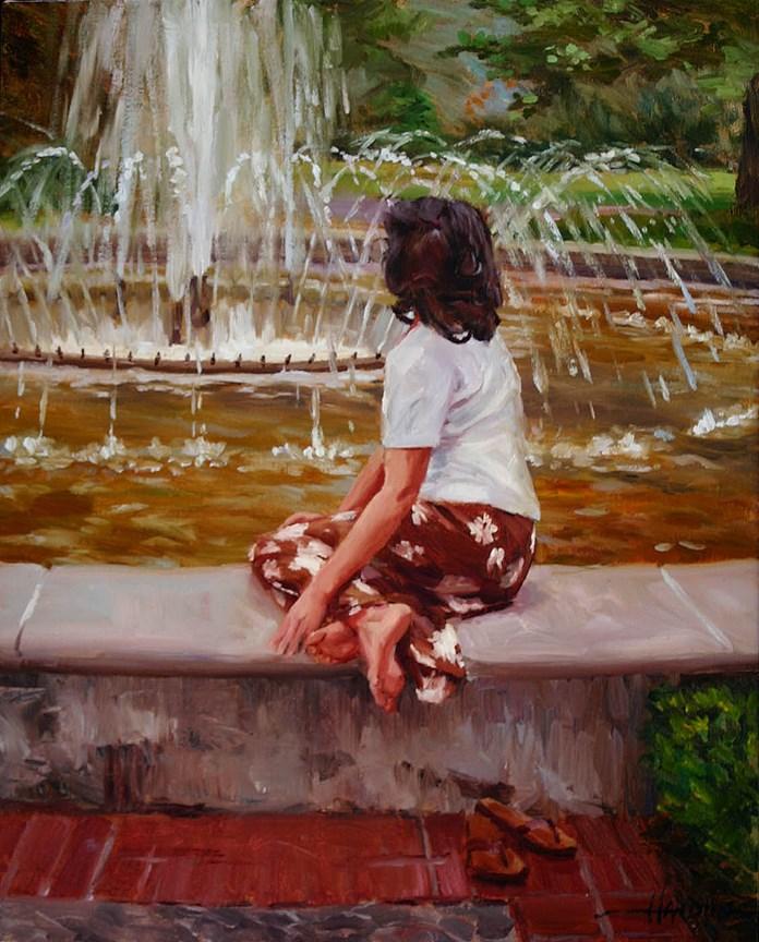 """Fountain at Cantigny"" original fine art by Scott Harding"