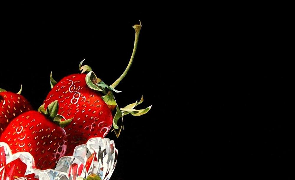 """Strawberries and a new project..."" original fine art by Jacqueline Gnott, TWSA, WHS"