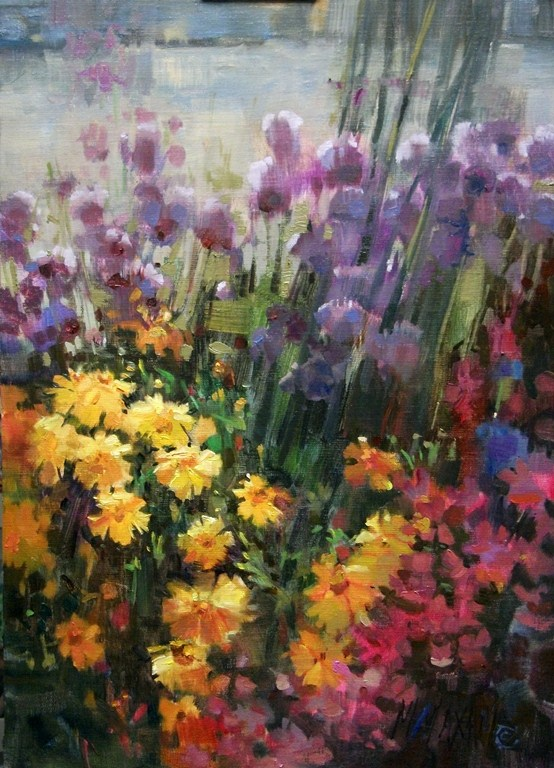 """Harbor Flowers - summer flower mix"" original fine art by Mary Maxam"