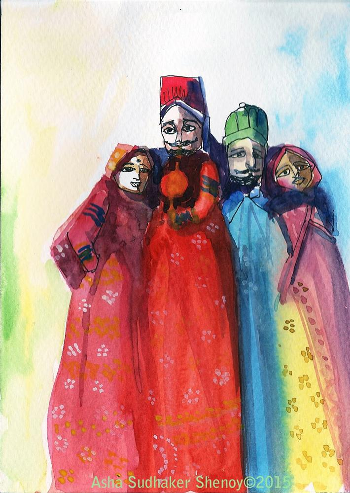 """Puppets of Rajasthan"" original fine art by Asha Shenoy S"