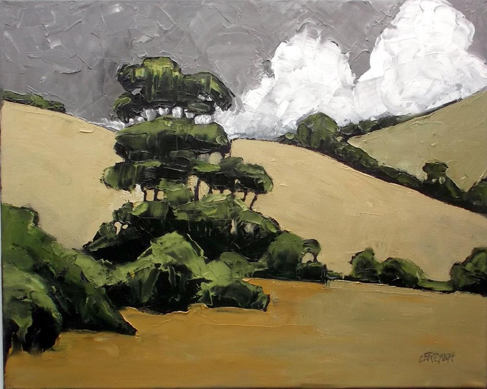 """California Hills & Eucalyptus"" original fine art by lynne french"