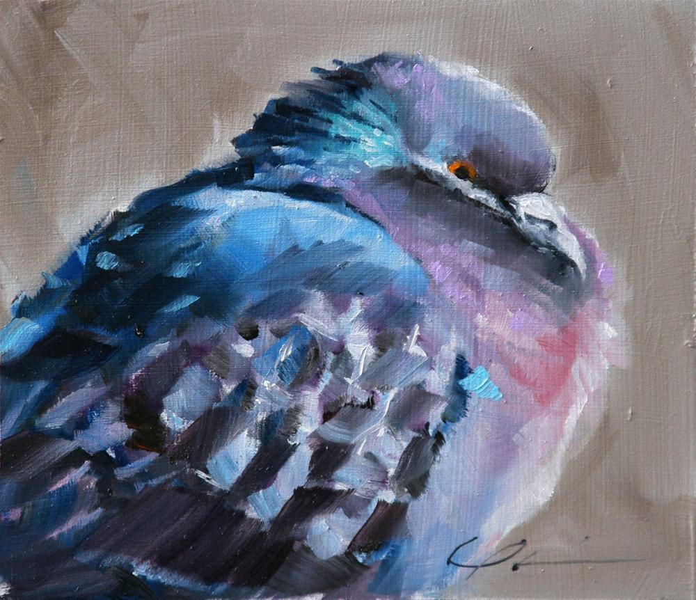 """Puffy Pigeon"" original fine art by Clair Hartmann"