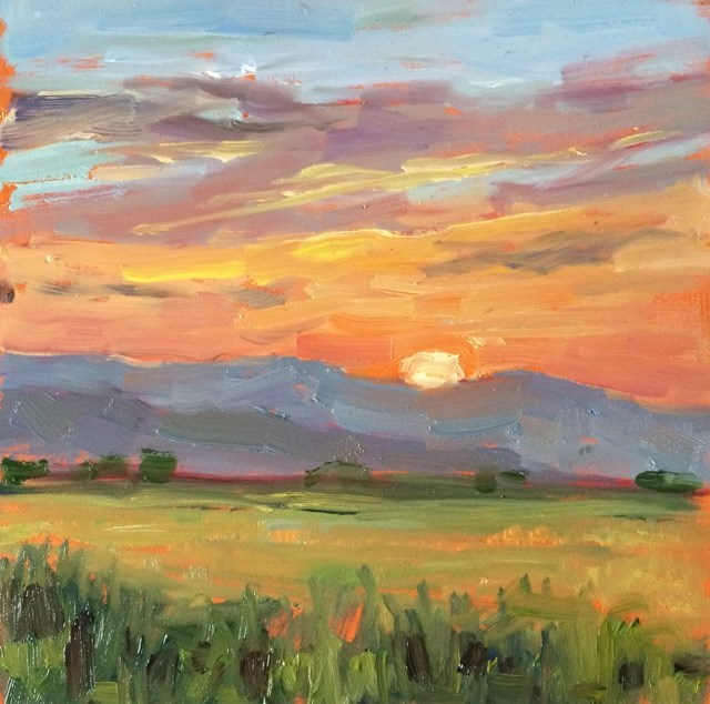 """Montana sunset"" original fine art by Deborah Newman"